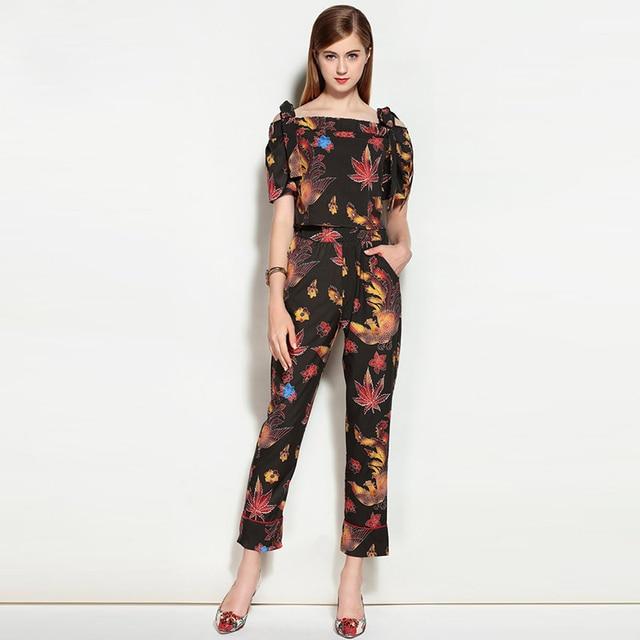 High Quality New 2017 Runway Suit Set Two Piece Women's Sets Floral Print Tops + Long Pants Suit