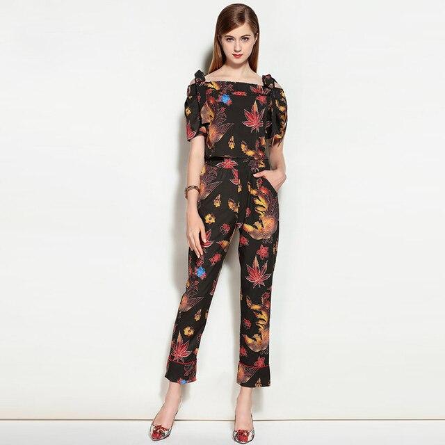 Yüksek Kalite Yeni 2017 Pist Suit Set Iki Parça kadın Setleri Çiçek Baskı Tops + Uzun Pantolon Suit