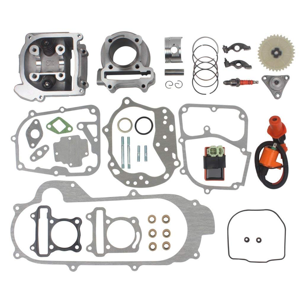 100cc Big Bore Kit for 64mm Valve GY6 49CC 50CC 139QMB Moped Scooter Engine 50mm Bore Upgrade Set with Racing CDI Spark Plug new set 47mm big bore kit cylinder piston rings fit for gy6 50cc to 80cc 4 stroke scooter moped atv with 139qmb 139qma engine