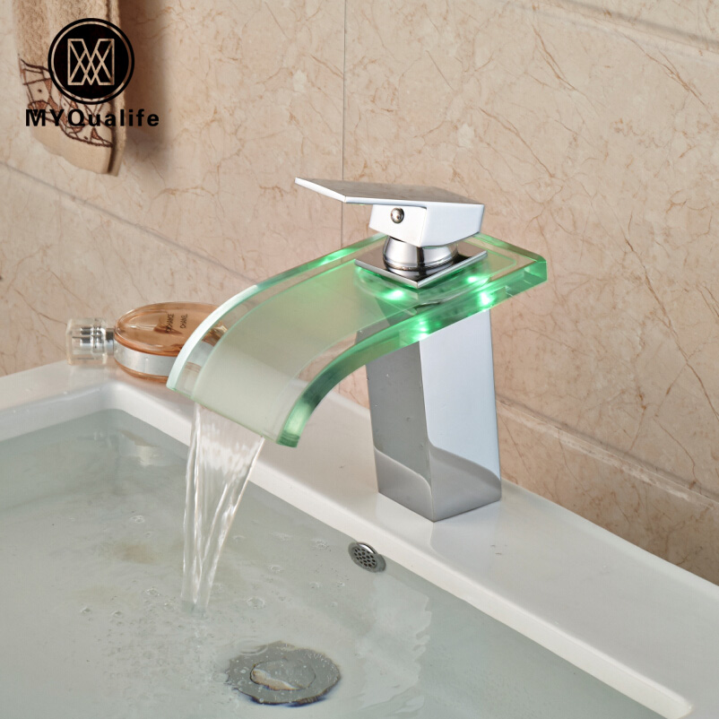 Deck Mount Wide Glass Waterfall Basin Faucet Single Handle Square LED Light Bathroom Sink Mixer Water Taps