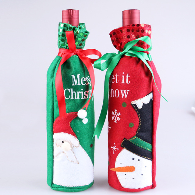 2pcs cute cartoon wine bottle covers christmas decorations wine gift bags xmas santa claus snowman home