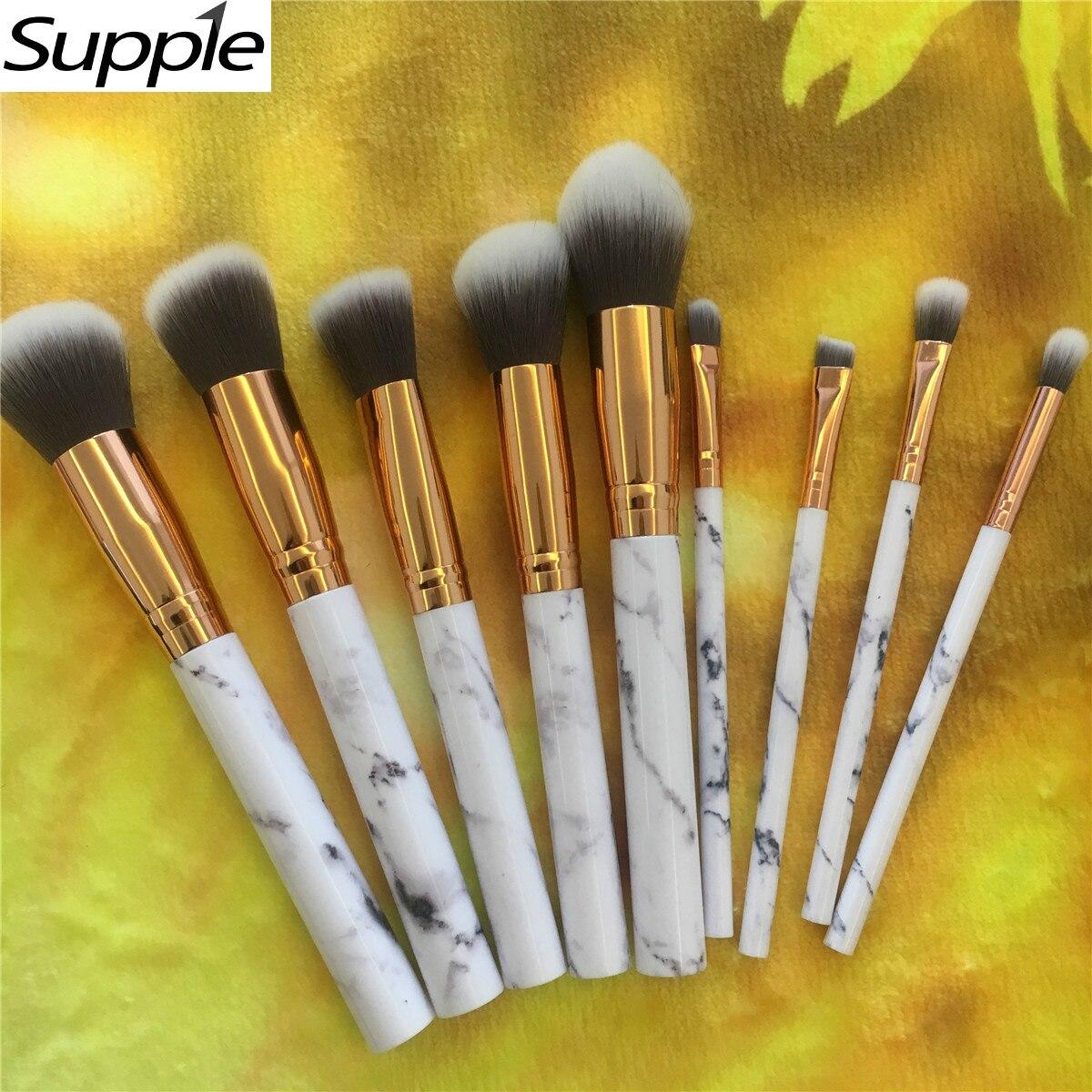 Professional Women Marble Makeup Brushes Extremely Soft Makeup Brush Set 10pcs Foundation Powder Brush Marble Make Up Tools