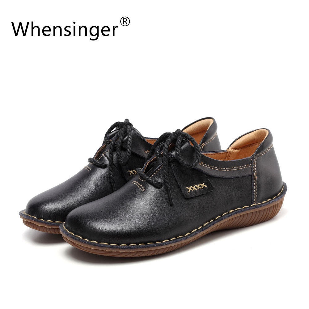 ФОТО Whensinger - 2017 Woman Shoes Winter Spring Cow Slit Leather Flats Round Toe Plain Solid Casual Lace-Up Handmade Elegant 9810