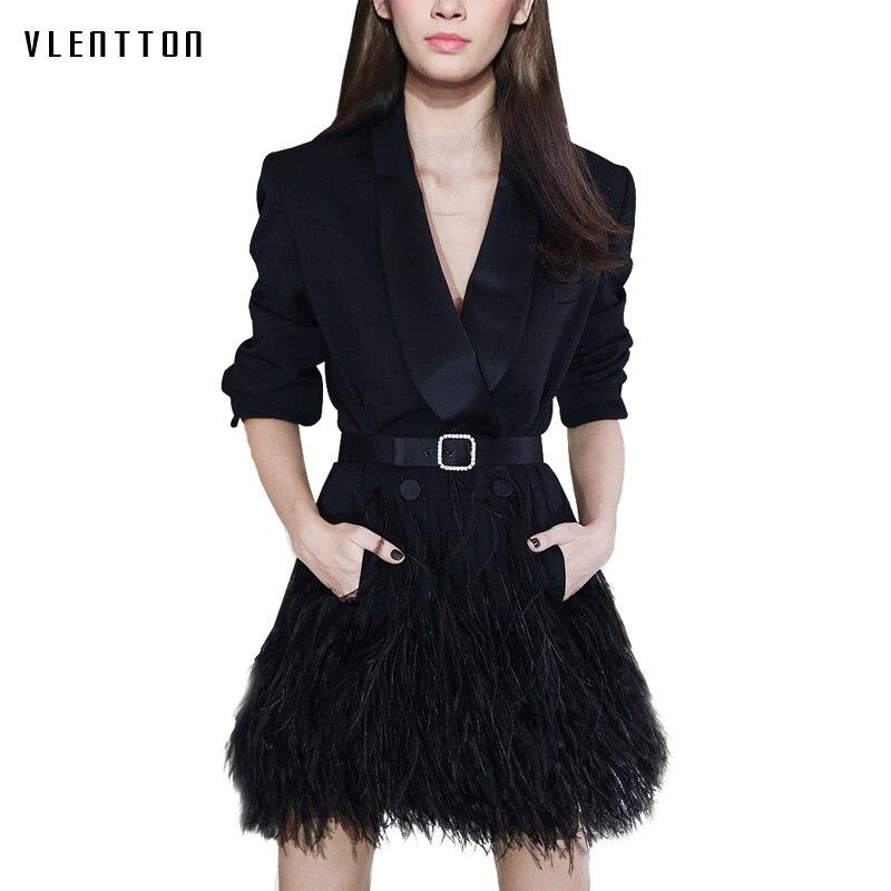 2018 New Autumn Winter Office Lady Slim Blazer and Jacket Elegant Black Tassel Women Blazer Dress