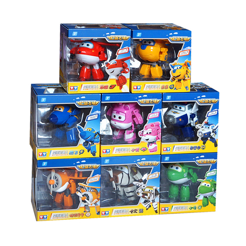 4pcs/set!!! Super Wings 15cm Big large Planes Deformation Airplane Robot Action Figures Transformation Toys Boys Birthday Gift