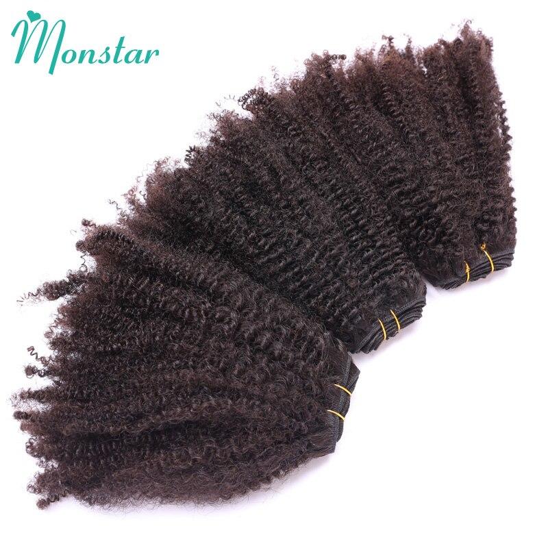 Афро кудрявые вьющиеся человеческие волосы Monstar, 1/3/4 пряди Ков, натуральные черные перуанские волосы, волнипряди 10 ''-26'', необработанные Реми