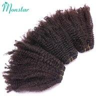 Monstar Afro Kinky Curly Weave Human Hair 1/3/4 Bundles Natural Black Peruvian Hair Weave Bundles 10'' 26'' Unprocessed Remy
