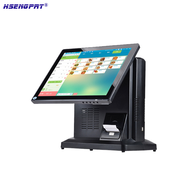 POS hardware with 15inch single LED Display all in one POS cash register built in with 58mm thermal bill printer for restaurant