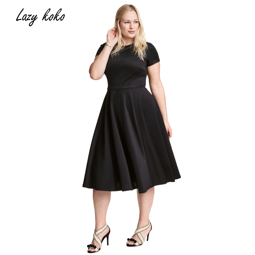 Wedding Simple Black Dress popular simple black dress buy cheap lots from lazy koko 2017 plus size women clothing fashion solid brief dresses short sleeves big