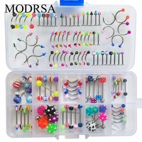 MODRSA 110Pcs Body Jewelry Eyebrow Navel Belly Lip Nipple Barbell Bars Tongue Nose Piercing Bar Ring Body Piercing Jewelry
