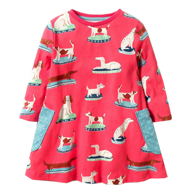 Girls Dresses Princess Costume Kids Party Dresses for Girls Clothes Baby Cotton Dress Long Sleeve Animal Print Children Dress toddlers girls dots deer pleated cotton dress long sleeve dresses page 8