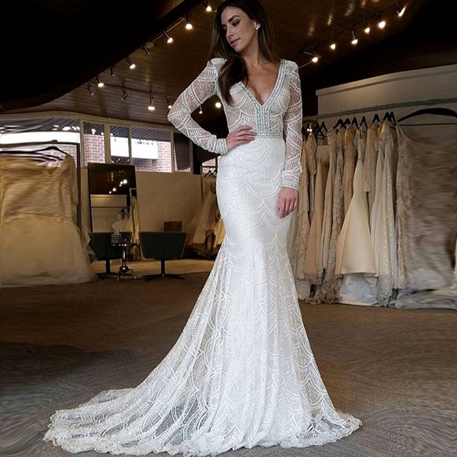 Luxurious embroidery mermaid wedding dresses 2017 crystal wedding ...