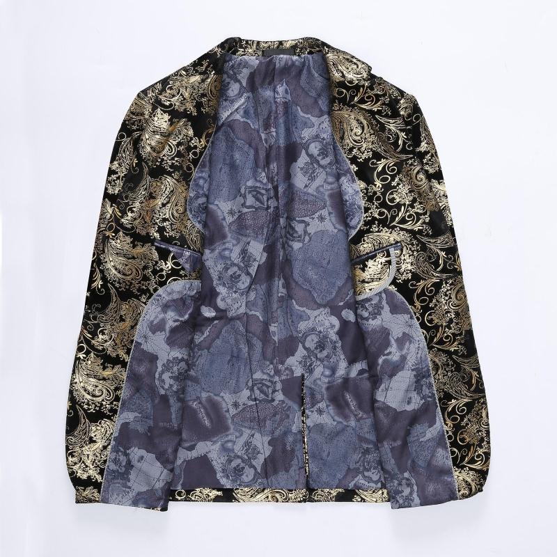 Image 3 - Paisley Wedding Suits Men Brand Design Black Gold Floral Tuxedo  Men Slim Fit Mens Dress Suits Stage Costumes Jacket/Pants Men XLfloral  tuxedotuxedo menbrand tuxedo