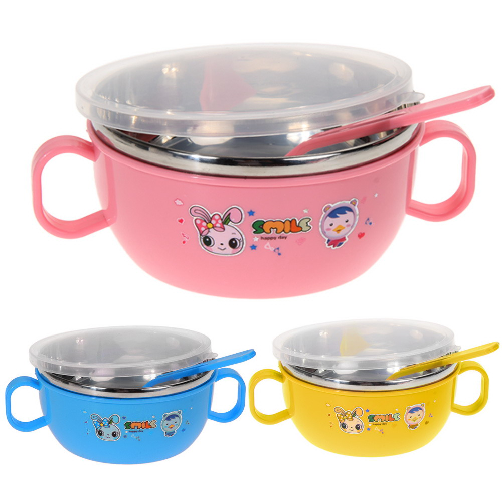 children stainless steel handle soup bowl food container lunch box kids nonslip container in. Black Bedroom Furniture Sets. Home Design Ideas