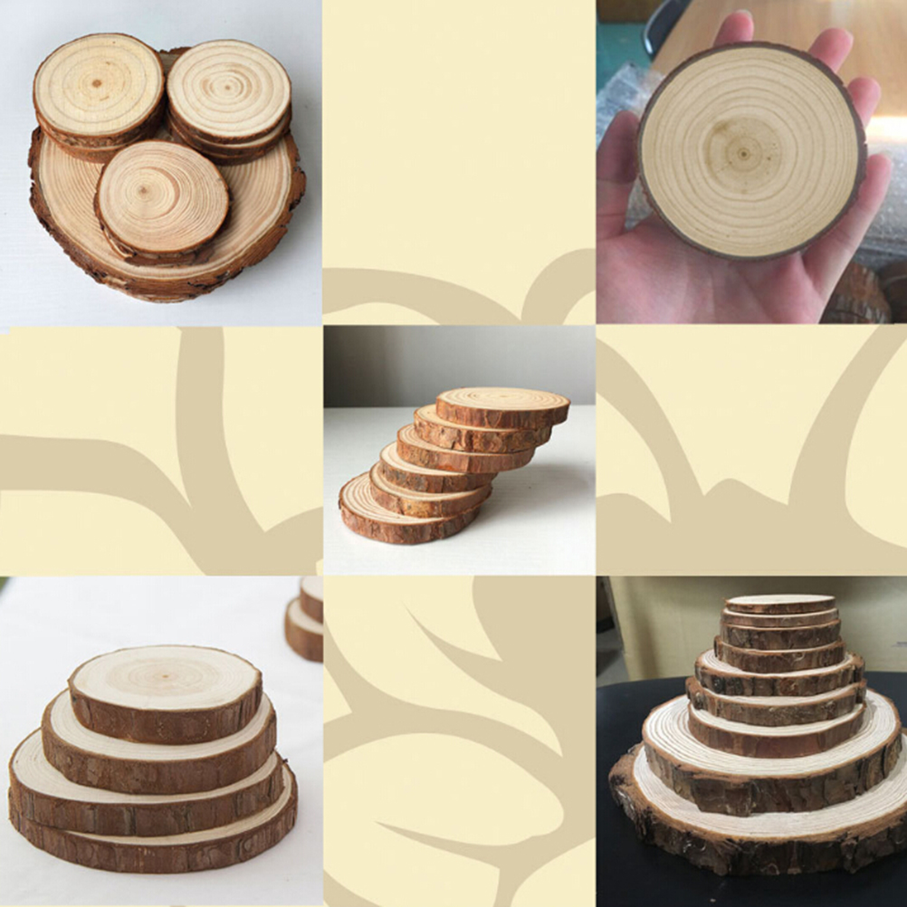 20pcs Natural Wood Log Slices Discs Wooden Pieces for DIY Crafts ...
