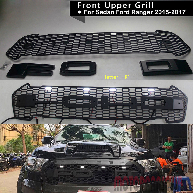 Car Racing Grill For Ford Ranger T7 2017 2016 2015 Wildtrak Pickup Raptor Grille With Badge LED Mesh Radiator Bumper Modify