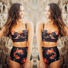 Women Fruit Print Push Up Bikini Set Swimsuit Bathing Floral High Waist Print Retro Swimwear