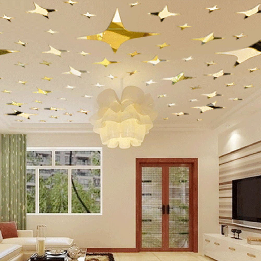 39pcs acrylic mirror wall sticker stars ceiling decor diy 3d wall stickers livingroom home - Stars for walls decorating ...