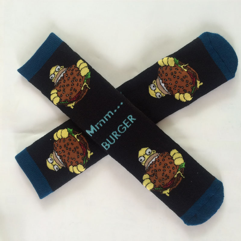 Cotton Personality Simpson Burger Cartoon Socks Men And Women Casual Socks Unisex Harajuku Calcetines