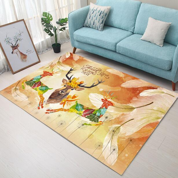 100 160cm Super Soft Flannel Abstract hand drawed Elk Carpet baby crawling pad thicken play mat tapis Non slip rug blanket in Carpet from Home Garden