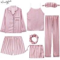 Sexy 7 Pieces Pajamas Sets Spring Sleep Suits Women Soft Sweet Cute Nightwear Gift Home Clothes Womens Pyjamas Sleepwear Pijama