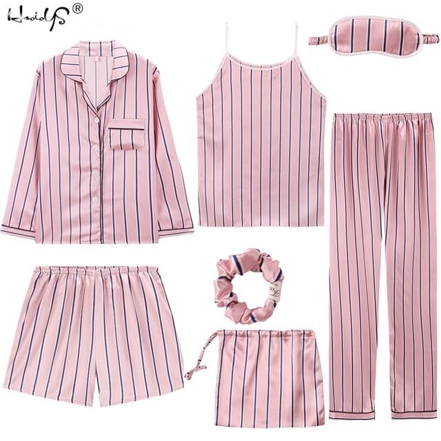 Sexy 7 pieces conjuntos de pijamas primavera ternos de sono feminino macio doce bonito pijamas presente casa roupas das mulheres pijamas pijamas