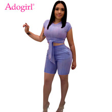 Adogirl Solid Women Slim Casual Two Piece Set Tracksuit Front Tie Short Sleeve T-shirt Crop Top + Pockets Shorts Summer Outfits