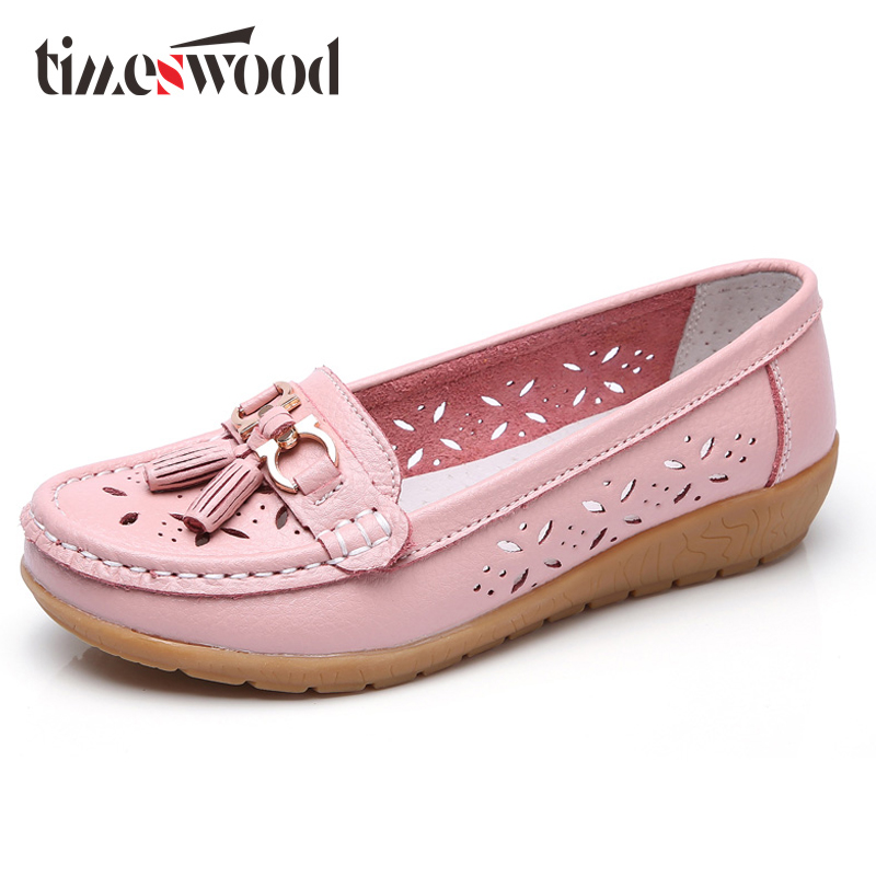 Mother Hollow-carved Loafer Women Work Brogue Shoe All Year Comfortable Female Boat Shoe Summer Nurse White Genuine Leather Flat ...