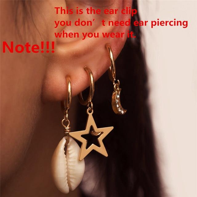 Ingemark Korean Natural Shell Drop Earrings Sweet Lvory Color Bohemian Stars Summer Conch Clip on Earring 2