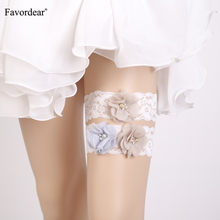 Favordear Women White Lace Pearls Wedding Garter with Three Flowers 2 PC Elastic Band Sexy Stocking Bridal Garter Belt(China)