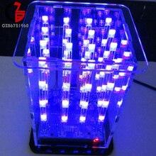 3D светодиодный светильник в квадрате 4x4x4 2*5*7 мм светодиодный красный/синий луч DIY Kit
