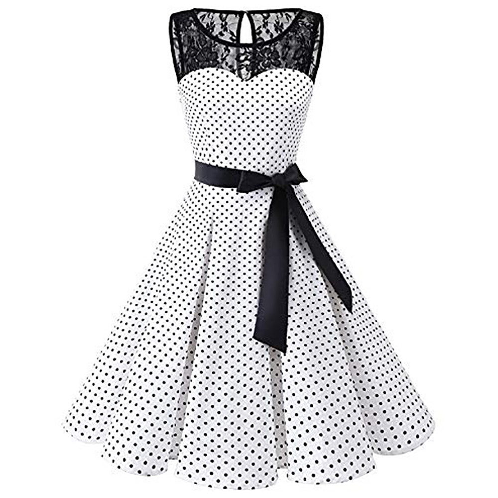HTB19yDPXErrK1RkSne1q6ArVVXar Sleeper #401 2018 Women Sleeveless Polka Dot Lace Hepburn Vintage Swing High-Waist Pleated Dress solid design hot Drop Shipping