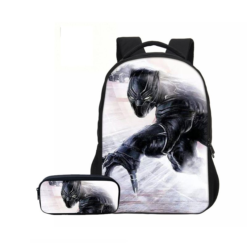 Veevanv Fashion 2 Pcs/set Men School Backpacks Pencil Case Black Panther Boys Shoulder Bags Casual Mochila Teenage Bookbag