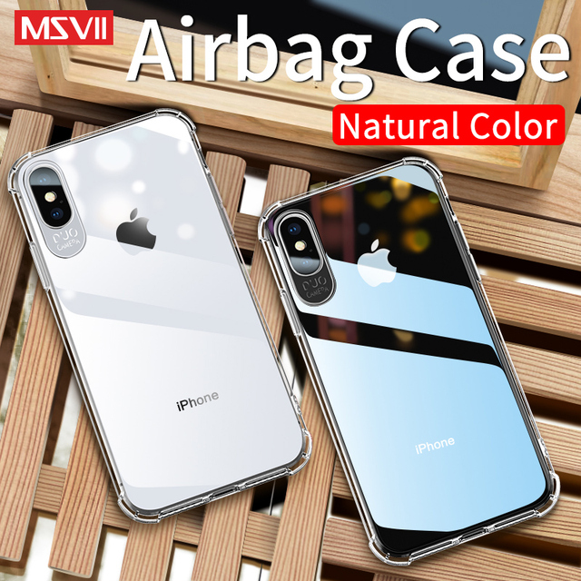 MSVII for iPhone8 TPU Soft Case for iPhone 8 Cases for iPhone XS XR Luxury Protective Back Cover for iPhone X 7 6 6s Shockproof