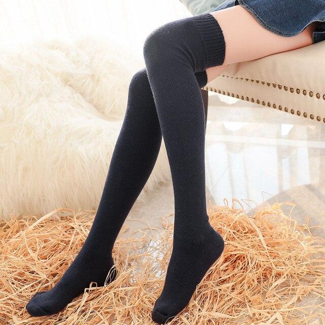 2017 nueva mujer trenza de lana sobre la rodilla calcetines del muslo highs manguera medias toque cálido