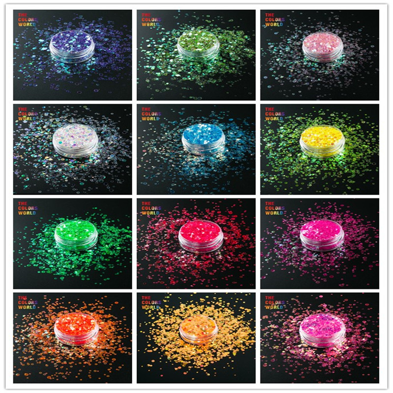 TCT-015 Mix  Rainbow Colors Dot Shapes Round Glitter For Nail Art Nail Decoration Gel Makeup Facepainting Manual DIY Decoration
