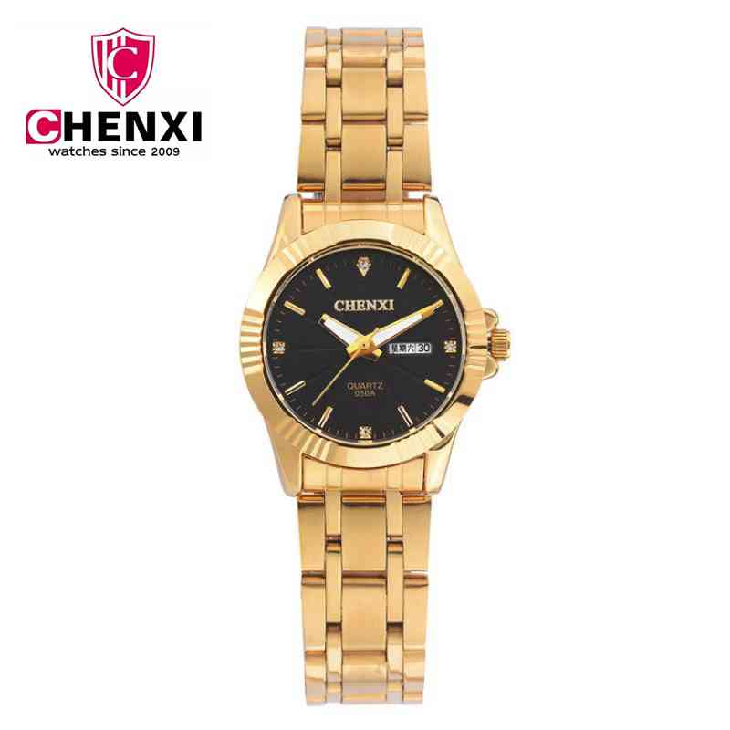 CHENXI Brands High Quality Watches Ladies Quartz Stainless Steel Gold Watch Men and Women Business Couple