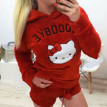 4e6a7ed5e6 2PCS Winter Warm Women Pajamas Set Soft Bathrobe Cute Cat Pyjamas Sleepwear  Solid Color Clothes Ladies
