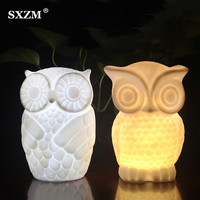 SXZM Owl Led Novelty Lamp AA Battery Operated Creative Wireless Table Lamp With Timer For Bedroom