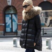 Новинка, качественный пуховик размера плюс, женские зимние пуховики с капюшоном из натурального меха, зимние парки Casacos Femininos