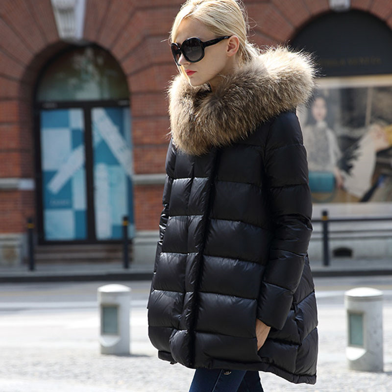 2018 New Quality   Down   Jacket Plus Size Women Winter   Down     Coats   With Real Fur Hood Winter Parkas Casacos Femininos