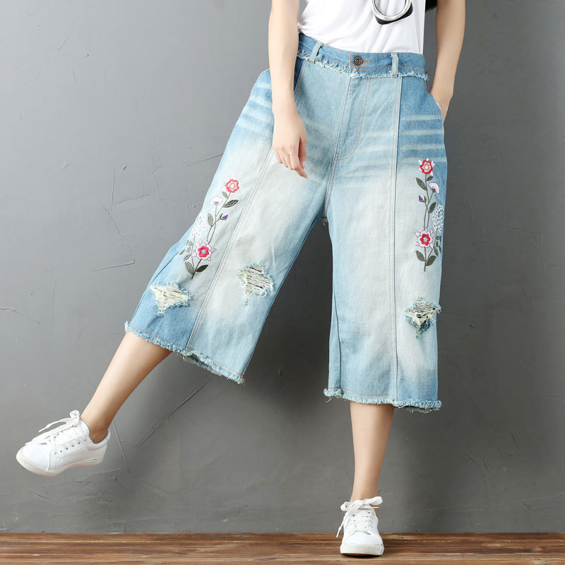 Women Summer Vintage Bleached Holes Calf Length Wide Leg Demin pants Ladies Embroidered Floral Jeans Embroidery Flower Trousers women s summer floral print wide leg cropped pants