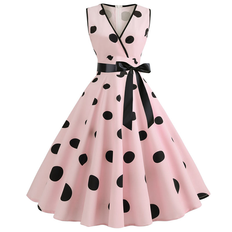 Woman Retro <font><b>Dresses</b></font> Audrey Hepburn <font><b>1950s</b></font> <font><b>60s</b></font> Rockabilly Polka Dot Bow Pinup Ball Grown Party Robe Plus Size Vestidos image