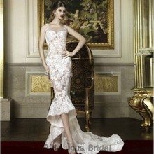 New Design Mermaid Wedding Dresses 2017 High Low Appliques Plus Size Bridal Party Gowns Robe De Mariage Court Train