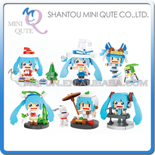 Full set 6 pcs/lot Mini Qute LOZ kawaii Amine Hatsune Sakura Miku plastic building blocks action figures model educational toy