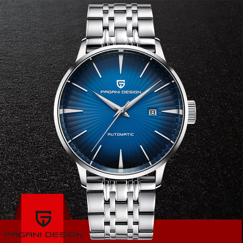 PAGANI DESIGN Brand Luxury Automatic Business Watch Men's Fashion Casual Waterproof 30M Stainless Steel Mechanical Watches +box