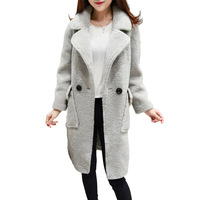 2018 Winter new women's fur collar fur coat winter loose cotton padded jacket over the knee lamb wool coat