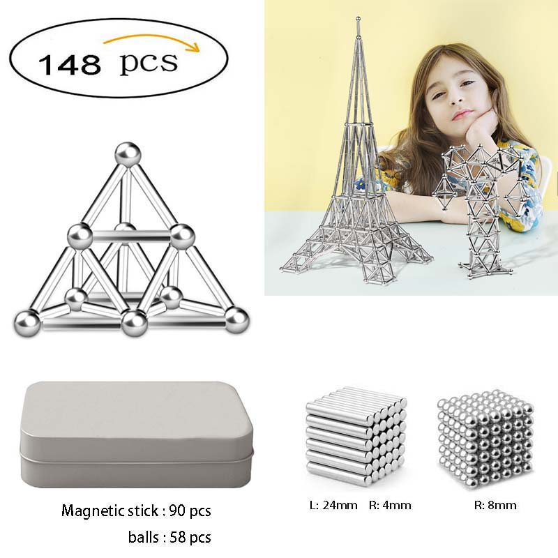 148pcs Magnetic Building Blocks construc Toys for Children Fidget Toy Magnetic Stick Balls Adults Relief Stress Brain Training(China)