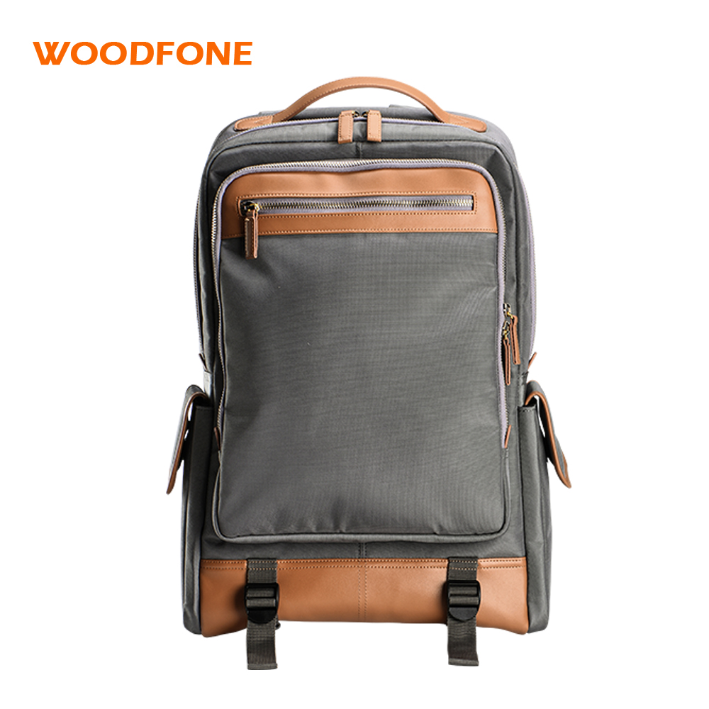 WOODFONE Nylon Men Backpack School Bag Leather Travel Mochila Waterproof Notebook Computer Bag For 14 Inch Laptop Rucksack