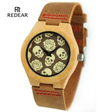 Lovers Vintage Wooden Wristwatch Skull Dial Wrist Watch Brown Quartz Men Women Couple Watch Halloween Gift watch
